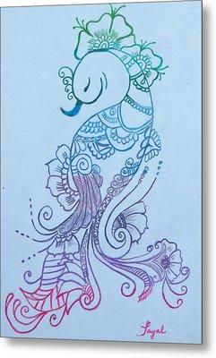 Mehndi Peacock Metal Print