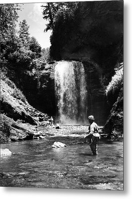 Men Trout Fishing Metal Print by Retro Images Archive