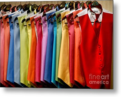 Mens Tuxedo Vests In A Rainbow Of Colors Metal Print by Amy Cicconi