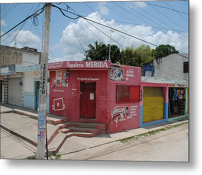 Merida Mexico Street Corner Metal Print by Robert  Moss