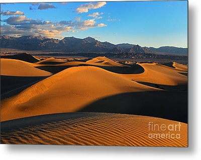 Mesquite Sand Dunes Death Valley Metal Print by Peter Dang