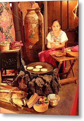 Mexican Girl Making Tortillas Metal Print by Roupen  Baker