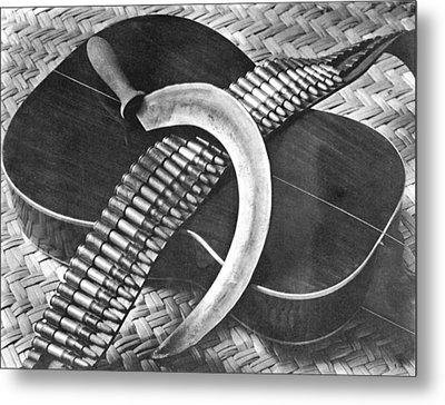 Mexican Revolution Guitar, Sickle Metal Print by Tina Modotti