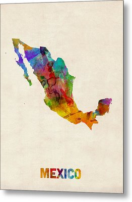 Mexico Watercolor Map Metal Print by Michael Tompsett