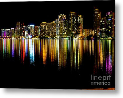 Miami Skyline II High Res Metal Print by Rene Triay Photography