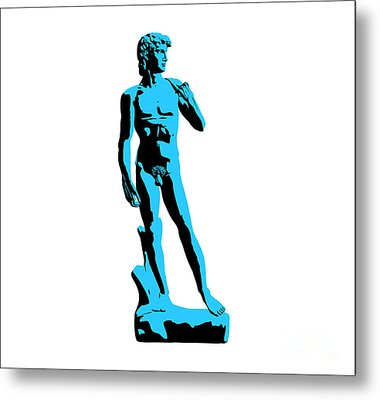 Michelangelos David - Stencil Style Metal Print by Pixel Chimp