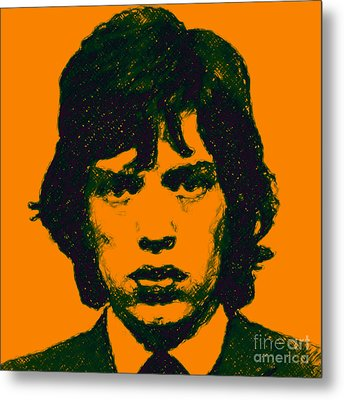 Mick Jagger Square Metal Print by Wingsdomain Art and Photography