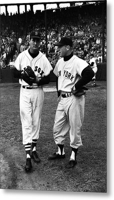 Mickey Mantle With Ted Williams Metal Print