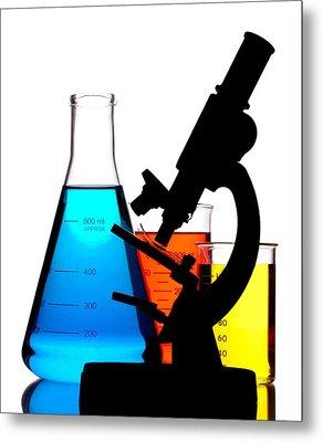Microscope In Laboratory Metal Print by Jim Hughes