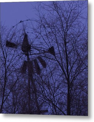 Midnight Windmill Metal Print by Todd Sherlock
