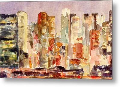 Midtown Manhattan Skyline At Dusk Watercolor Painting Of Nyc Metal Print by Beverly Brown
