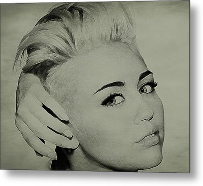Metal Print featuring the drawing Miley Cyrus  by Brian Reaves