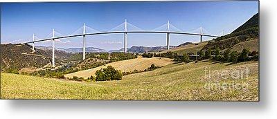 Millau Viaduct Panorama Midi Pyrenees France Metal Print by Colin and Linda McKie