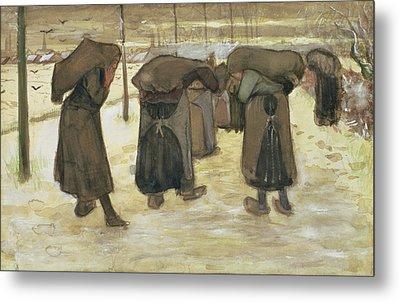 Miners Wives Carrying Sacks Of Coal Metal Print by Vincent van Gogh