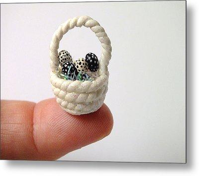 Mini Spotted Easter Basket Metal Print