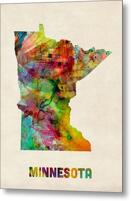 Minnesota Watercolor Map Metal Print