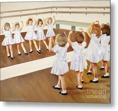 Metal Print featuring the painting Miss Lum's Ballet Class by Cynthia Parsons