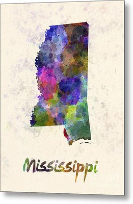 Mississippi Us State In Watercolor Metal Print by Pablo Romero