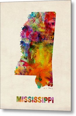 Mississippi Watercolor Map Metal Print by Michael Tompsett