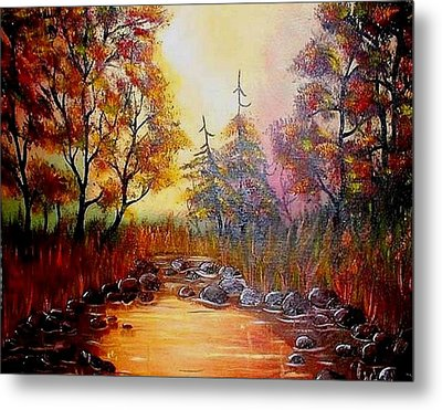 Metal Print featuring the painting Misty Morning Marsh by The GYPSY And DEBBIE