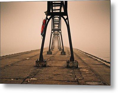 Misty Pier Metal Print by Jason Naudi Photography