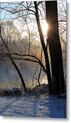 Misty River Sunrise Metal Print by Hanne Lore Koehler