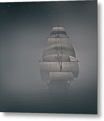Misty Sail Metal Print by Lourry Legarde