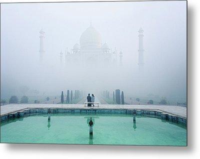 Misty Taj Mahal Metal Print
