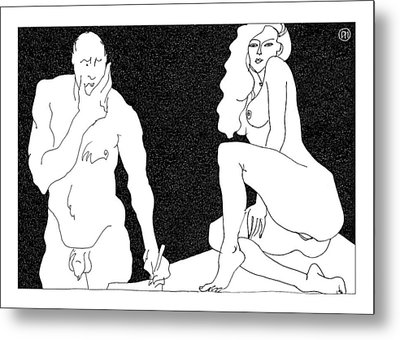 Model And Artist 18 Metal Print by Leonid Petrushin