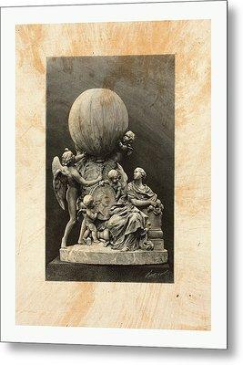 Model Of A Statue Dedicated To French Balloonists Metal Print by English School