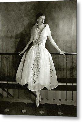 Model Wearing Dress By Lanvin Metal Print