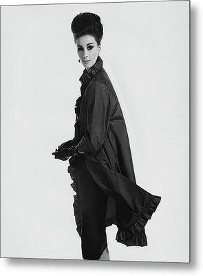 Model Wearing Ruffled Raincoat Metal Print