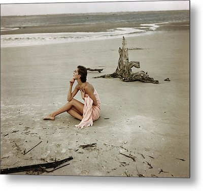 Model Wrapped In A Pink Towel On The Beach Metal Print