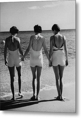 Models On A Beach Metal Print by Toni Frissell