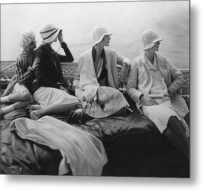 Models On A Yacht Metal Print by Edward Steichen