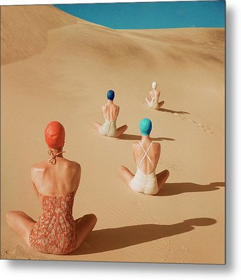 Models Sitting On Sand Dunes In California Metal Print by Clifford Coffin