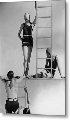 Models Wearing Bathing Suits Metal Print by George Hoyningen-Huene