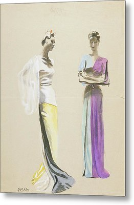 Models Wearing Satin Evening Gowns Metal Print by R.S. Grafstrom