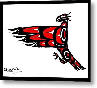 Mohawk Eagle Red Metal Print by Speakthunder Berry