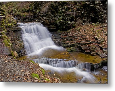 Mohican Falls In Spring Metal Print by Shelly Gunderson