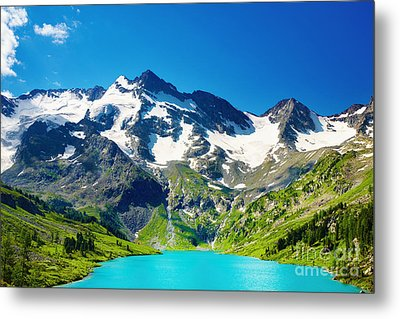 Mointain And Lake Beautiful Metal Print by Boon Mee