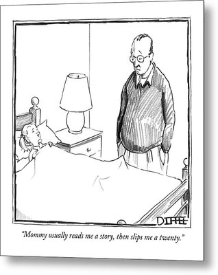 Mommy Usually Reads Me A Story Metal Print by Matthew Diffee
