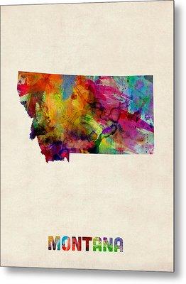 Montana Watercolor Map Metal Print