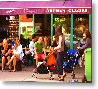 Montreal Art Work Bilboquet Cafe Scene Moms And Baby Carriages  In  Outremont By Carole Spandau Metal Print by Carole Spandau