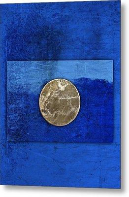 Moon On Blue Metal Print by Carol Leigh