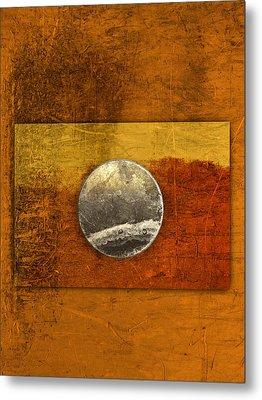 Moon On Gold Metal Print by Carol Leigh