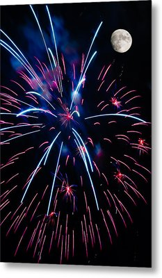 Moon Over Red White And Blue Starburst- July Fourth - Fireworks Metal Print by Penny Lisowski