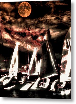 Metal Print featuring the tapestry - textile Moonlight Cruise by Robert McCubbin