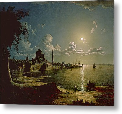 Moonlight Scene, Southampton, 1820 Metal Print