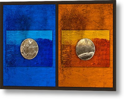 Moons On Blue And Gold Metal Print by Carol Leigh